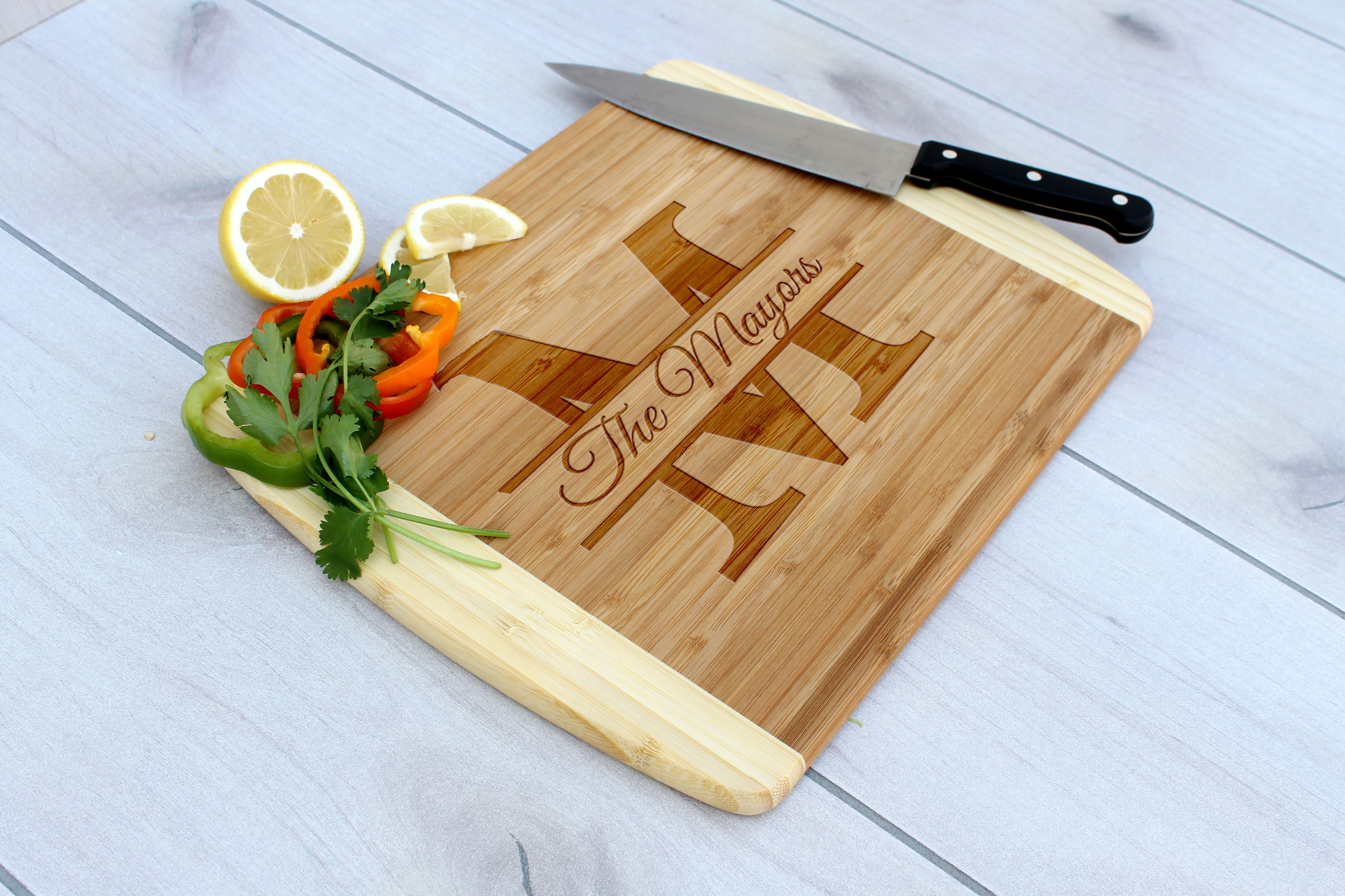 Buy Hand Made Personalized Cutting Board Engraved Cutting Board Custom Wedding Gift Cb Bam Mayors Made To Order From Etchey Custommade Com