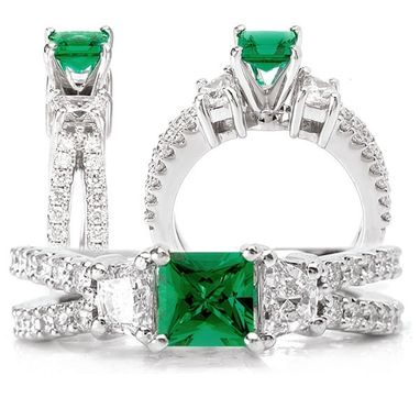 Custom Made 18k Lab-Created 5x5mm Princess Cut Emerald Engagement Ring With Split Shank