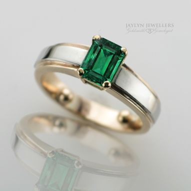 Custom Made Emerald Two-Tone Gold Engagement Ring