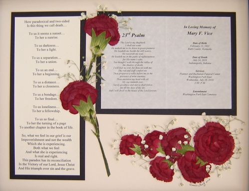 Custom Made Memorial Pressed Flower Art (Flowers Gathered From A Funeral)