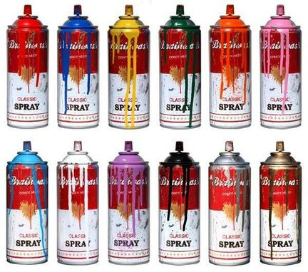 "Custom Made ""Spray Cans (Full Set) 2012"" Printed Steel, 7.5 X 2.5 X 2.5"