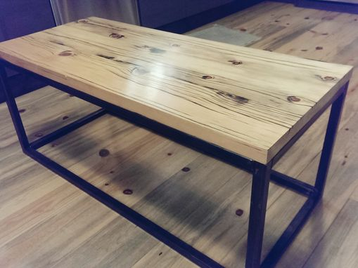 Custom Made Reclaimed Cattle Fence Wood And Welded Steel Coffee Table