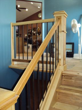Custom Made Hickory And Walnut Staircase