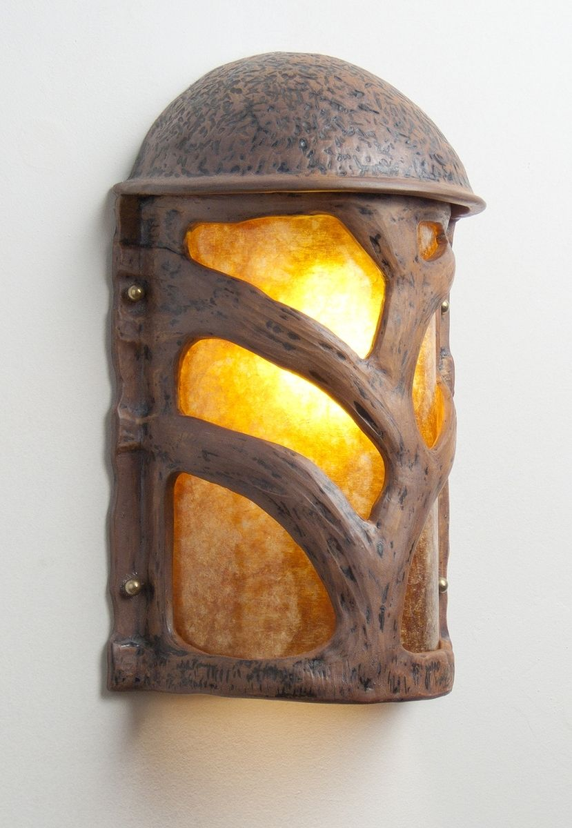 Hand Made Tree Branch Terra Cotta And Mica Wall Sconce By