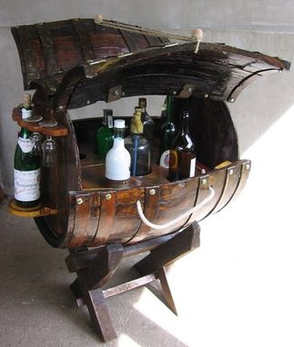 Custom Made Old Barrel Converted Into A Bar