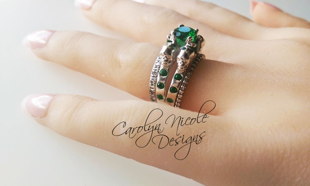 Hand Crafted Skull Engagement Ring With Green Emerald Gems By