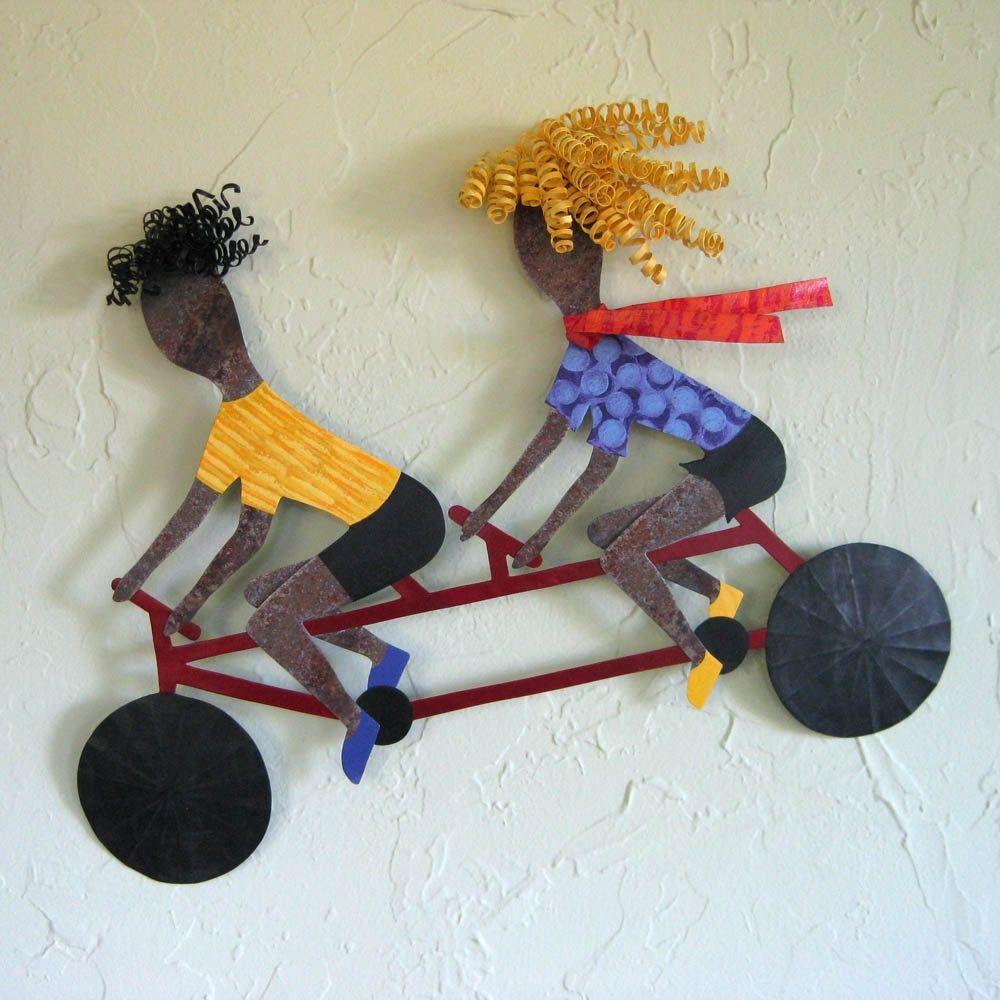 Metal Bicycle Wall Decor hand crafted handmade upcycled metal tandem bicycle wall art