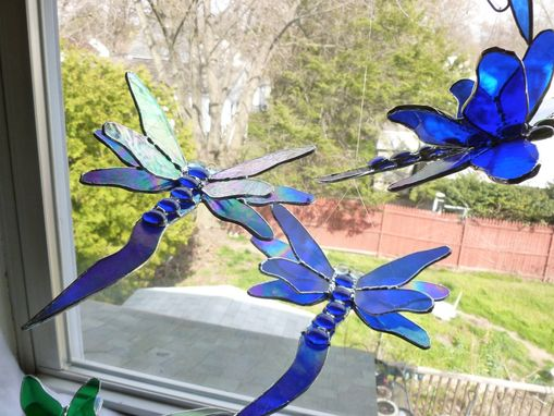 Custom Made Cobalt Iridescent Blue Dragonfly Stained Glass Art