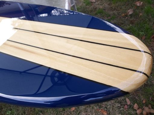 Custom Made Six Foot Surfboard Wall Hanging, Poplar With Navy Blue
