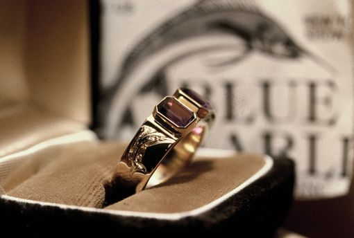 Custom Made 14 Karat Gold 3-Emerald-Cut Amethyst Gent's Ring W/Marlin