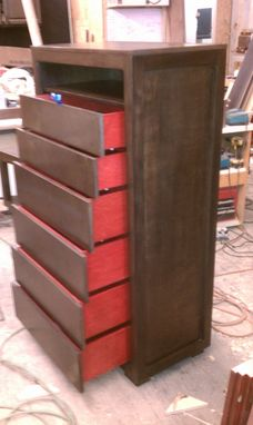 Custom Made Modern Birch Dresser W/ Red Accents