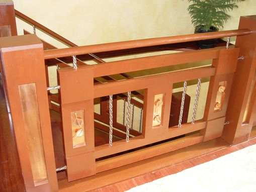 Custom Made Aspen Leaf And Copper Stair Case