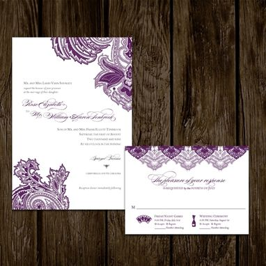 Custom Made Purple Paisley Wedding Invitations