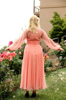 Custom Made Vintage 60s Chiffon Prom Dress Beaded With Angel Bell Sleeves And Double Layered Extra Full Skirts L