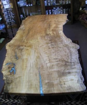 Custom Red Maple Live Edge Burl Single Slab Dining Table