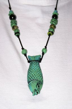 Custom Made Necklace Kayla Fish, Hand Sculpted Green/Blue 2 Sided Female Face