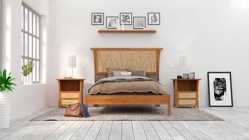 "Custom Made Bed Frame Queen, Headboard, Platform Bed King, Cherry Wood Posts, Maple Panel, ""Prairie Platform"""