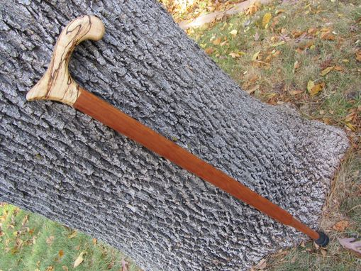 Custom Made Walking Cane - Spalted Maple - Cherywood