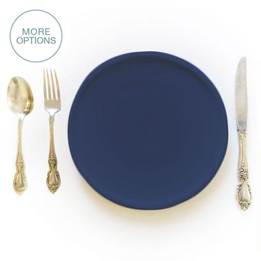 "Custom Made Matte Porcelain Usa Made 9"" Dinner Plate- Indigo"