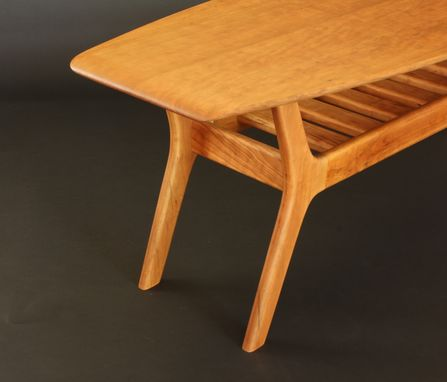 Custom Made Spicoli Danish Surfboard Coffee Table In Cherry