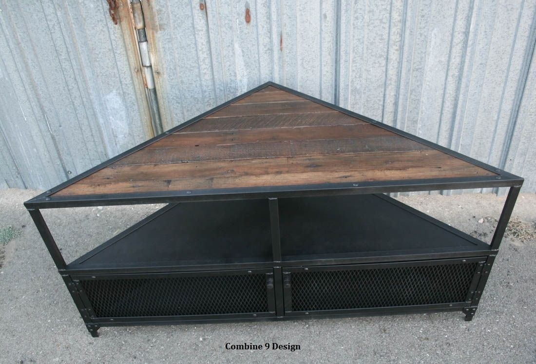 Buy A Handmade Corner Unit Tv Stand Vintage Modern Industrial Steel Reclaimed Wood Media Console Rustic Made To Order From Combine 9
