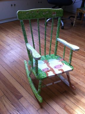 Custom Made Two Cows Rocking Chair