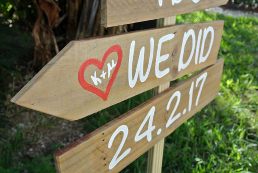 Custom Made Gift For Wedding. Rustic Wedding Beach Sign. I Do We Did Vows Arrows Sign