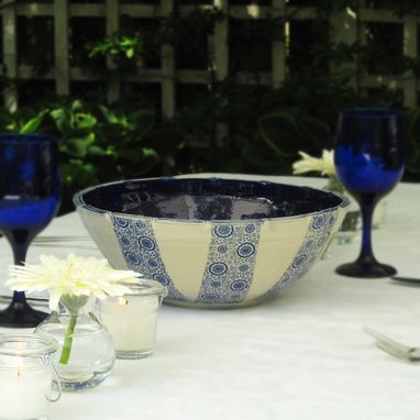 Custom Made Pottery Serving Bowl In Cream With Blue Flowers