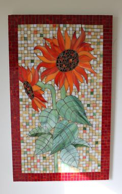 Custom Made Glass Mosaic Sunflowers Panel