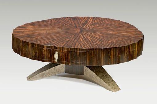 Custom Made Coffee Table In Zircote With Bronze Feet