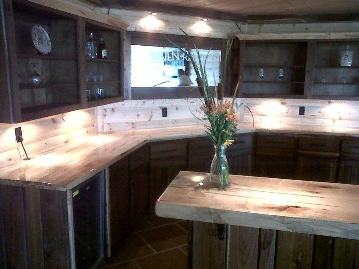 Custom Made Walnut Bar With Ambrosia Maple Counter Top