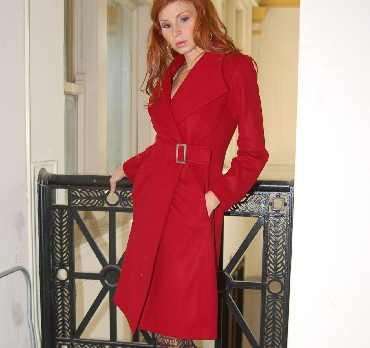 Custom Women&39s Buckle Wrap Coat In Red Wool And Cashmere by De