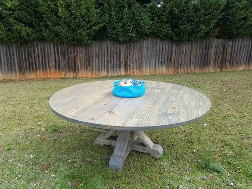 Custom Made Round Pedestal Base- Farmhouse Table