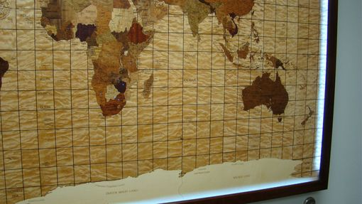 Custom Made World Map Of Wood Veneers.