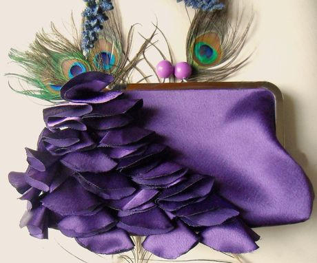 Custom Made Purple Bridal Clutch With Layered Satin Ruffles