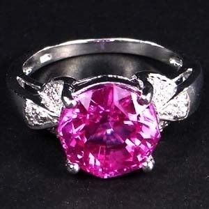 Custom Made 4 Carat Vivid Pink Sapphire Ring In Sterling Silver