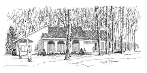 Custom Made Custom Home Portrait In Pen And Ink 11 X 14 Inches