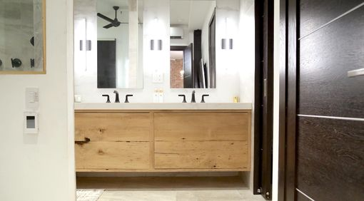 Custom Made Vinatge Hemlock Vanity And Nuetral Bathroom