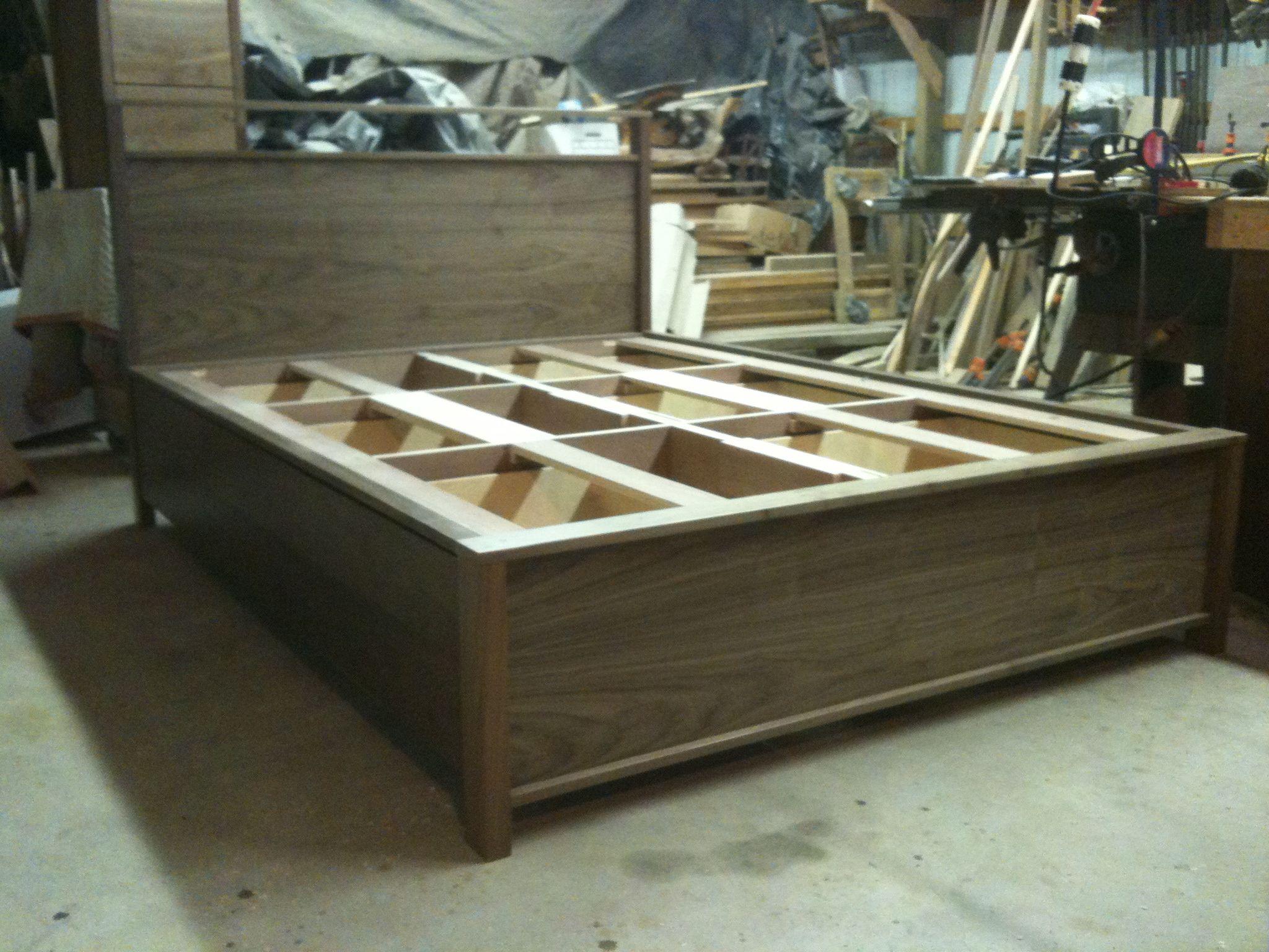 Handmade 6 Drawer Black Walnut Platform Bed By Jeremy Belanger Woodworking Custommade Com