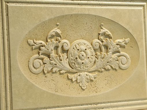 Custom Made Travertine Carved Frieze Panel