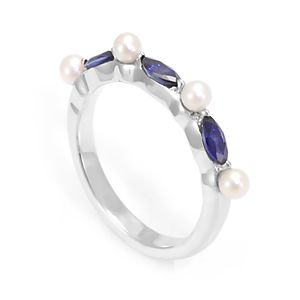 Custom Made Marquise Shape Blue Sapphire & Pearl Band In 14k White Gold, Blue Sapphire Band, Pearl Band