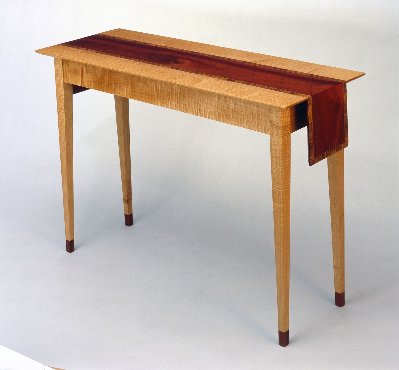 Hand Crafted Hallway Table With Wooden Table Cloth Runner by Wood