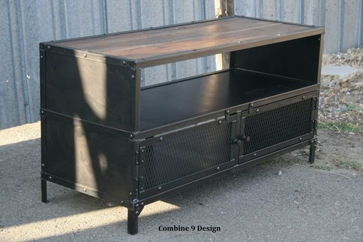 Custom Made Vintage Industrial Tv Stand. Steel & Reclaimed Wood. Mid Century Modern. Media Console