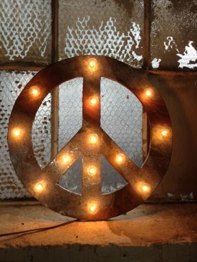 Custom Made Peace Sign Lighted Metal Marble Rust Finish Light Fixture