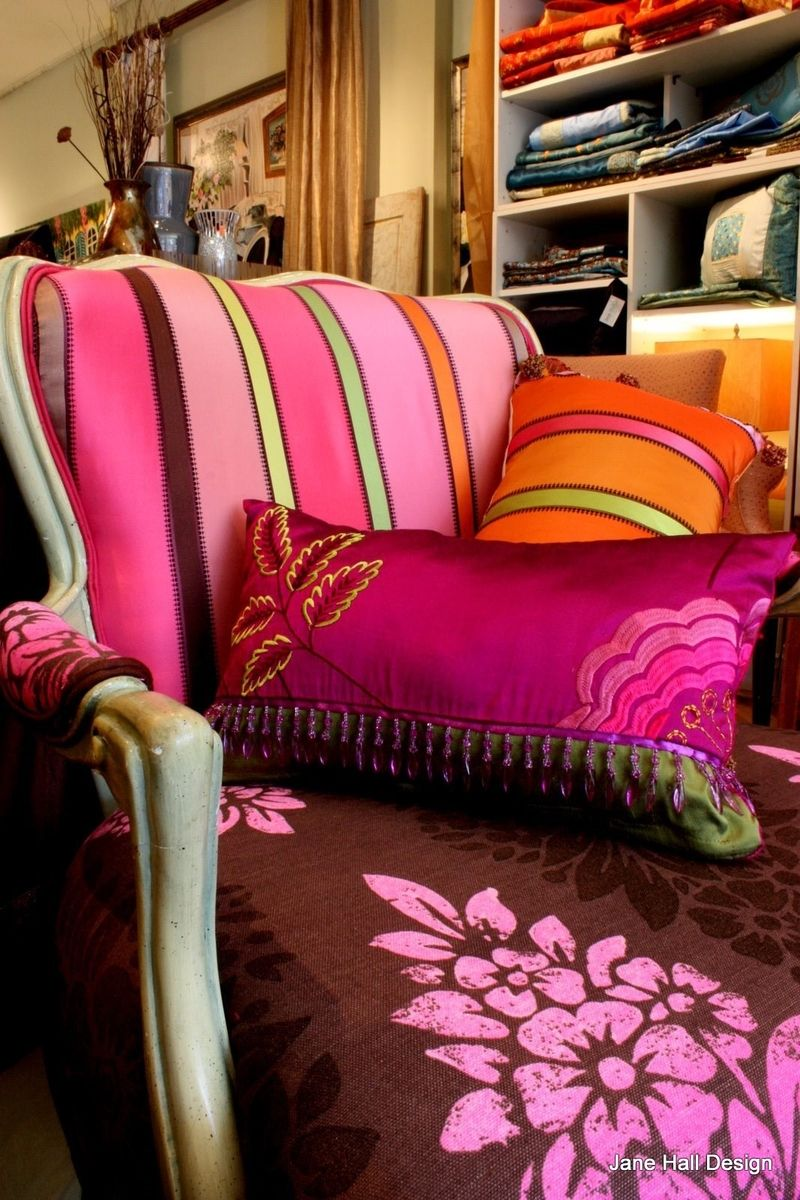 Custom Made Upholstered Vintage Furniture Lighting Cushions In Chocolate Brown And Pink