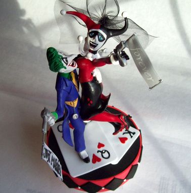 Custom Made The Joker And Harley Quinn Wedding Cake Topper