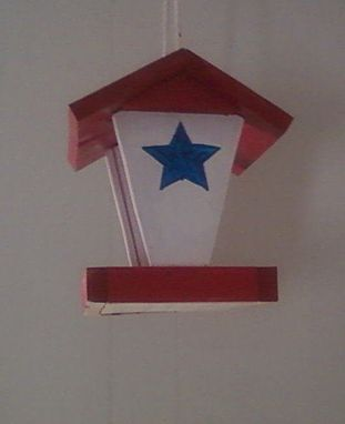 Custom Made Red,White And Blue Bird Feeder
