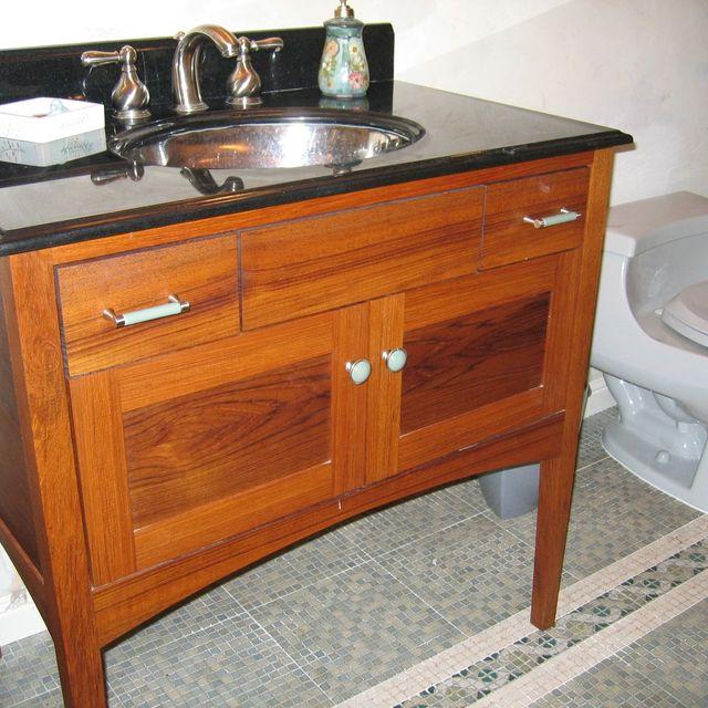 Hand Crafted Custom Teak Furniture Style Bathroom Vanity By Near West