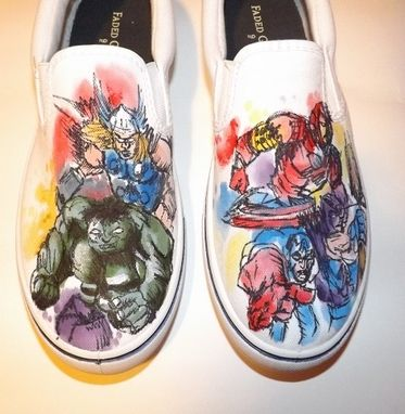 Custom Made Mens Hand Painted Avengers Comic White Canvas Shoes