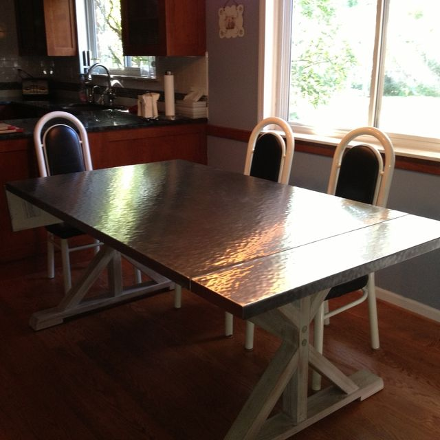 Handmade Custom Hammered Stainless Steel Dining Table by BK ...